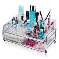 2层抽屉式亚克力化妆品桌面收纳盒  韩国家居梳妆台组合整理盒