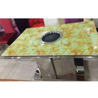钢化玻璃桌防大理石桌面电烤炉专用烧烤桌