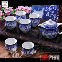 景德镇经典青花瓷陶瓷双层功夫茶具套装骨瓷茶壶茶道茶杯茶具