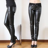新款PU皮裤修身性感大码 高弹力打底裤铅笔长裤女