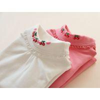 8117外贸童装 女童 樱桃刺绣两翻领纯棉加厚打底衫 T恤 F1023-3