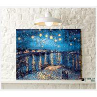 星空下的罗纳河 电表箱装饰画 帆布无框画 客厅餐厅墙画 油画壁画