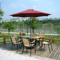 户外酒吧实木桌椅伞组合 室外庭院休闲桌椅组合套装 露天花园家具