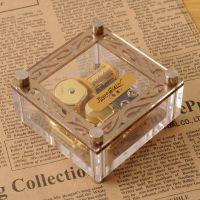 亚克力透明镀金属音乐盒八音盒 创意礼品 生日礼物 工艺品