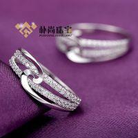 J017#银戒指 S925银 首饰 手饰 电镀铂金 防氧化 银戒