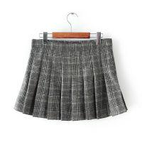 FEI.F--ZA/RT  甜美可爱格子百褶迷你裙 女式羊毛呢半身裙现货