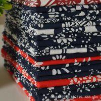 传统活性蓝印花布 仿蜡染棉布布料装饰布 桌布茶馆沙发面料手工