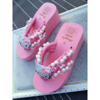 凉拖 bling满钻猫头女士缝制珍珠宝石人字拖鞋沙滩海边坡跟鞋