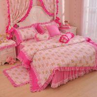 新款韩式公主全棉花边四件套床上用品婚庆 纯棉蕾丝床罩床裙批发