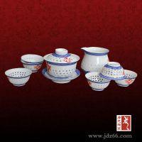 青花盖碗茶具 定制定做陶瓷青花茶具价格