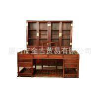 古典红木家具 明式书房四件套 书柜 书桌 老挝大红酸枝 缅甸花梨
