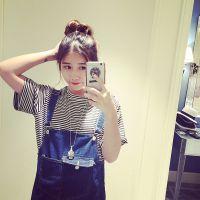安安家2015春夏新款 韩版时尚横条纹显瘦短袖T恤 女式百搭打底衫
