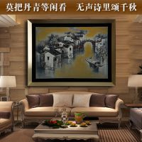 【包邮】中国风客厅书房装饰画 江南风景画 纯手绘油画画芯批发