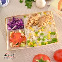 厂家批发定制扬州22四格木片快餐盒 木质便当盒