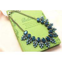 欧美大牌品牌尾单奢华复古森林系森女水钻镶嵌满钻蓝绿祖母绿项链