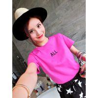 小银子2015夏装新款韩版简约字母下开叉百搭显瘦短袖T恤女T5211