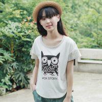 2015夏装新款韩版学院风夏天印花猫头鹰燕尾服女大码短袖T恤上衣