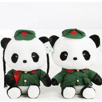 复古情侣熊猫毛绒玩具布娃娃红军军装压床娃娃车头公仔结婚庆礼物