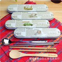 天绘英伦风餐具套装 不锈钢/碳化竹制