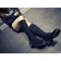 2015时尚休闲单靴子女秋东长筒靴方跟圆头女靴黑色机车款低跟靴