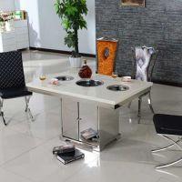 海德利 田园风多功能实木电磁炉火锅桌 长方形自助烤涮一体桌