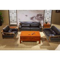 长沙星沙博丰家居广场 中式家具 中式风格实木 家具中式实木头层真皮沙发家具
