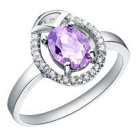 镀18K白金 微镶戒指 925 镶石系列首饰 紫晶石饰品 现货批发