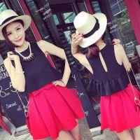 小银子2015夏装新款气质韩版荷叶摆背心上衣X5160