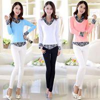 2015春季新品时尚韩版大码打底衫 假两件修身显瘦长袖学生T恤女