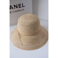 高端手工极细拉菲草钩针遮阳出游草帽 女 夏天可折叠沙滩渔夫帽子