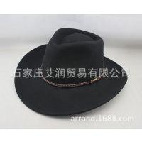 出口纯羊毛呢毡帽 男女士牛仔礼帽子 工厂支持来样来图定做