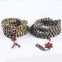 天然美洲绿檀木桶珠沉檀木质念珠素款带清香味圆珠108佛珠手串1.0