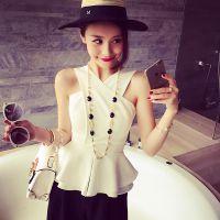 小银子2015夏装新款气质性感女人味交叉荷叶边背心女上衣G