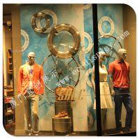 2015 海洋主题系列橱窗 品牌服饰橱窗装饰 玻璃钢船舵轮胎 亚克力五金工艺 道具厂