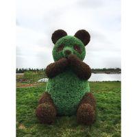仿真熊猫绿雕 米兰草绿雕 造型动物 公园广场园艺动物厂家直销