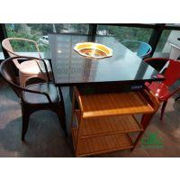 中式石英石火锅桌|四人位火锅桌-下陷式火锅餐桌椅运达来定制