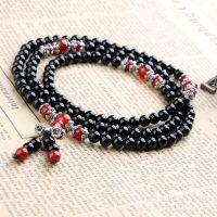 天然红黑玛瑙108颗佛珠手链男女多层水晶情侣复古饰品礼物半宝石