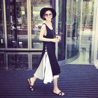 小银子2015夏装新款系带雪纺拼接莫代尔两件套连衣裙长裙女Q4455