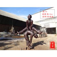 儿童雕塑_做游戏_玩耍_嬉戏_童趣_跳马_玻璃钢和铸铜材质_厂家现货_木箱包装