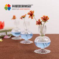 透明迷你条纹创意花瓶家居摆件装饰品水培植物花盆养花器