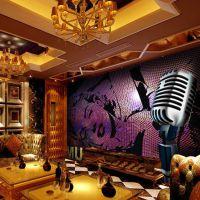 量贩式KTV大型壁画 主题酒店大堂墙纸厂家 阻燃墙纸壁画定制