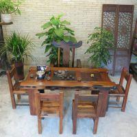 老船木茶桌茶台 南昌户外阳台功夫茶桌 小型茶几船木茶桌椅组合实木家具