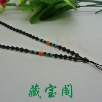 精编天然黑砭石珠子项链挂绳   绿松石隔珠砭石珠子挂绳