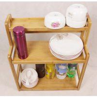 鑫光楠竹浴室环保收纳架 厨房置物碗架 多功能桌面书架层架