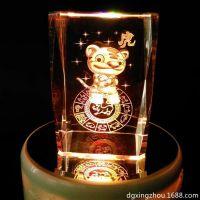 厂家供应十二生肖水晶3D内雕 激光内雕纪念品水晶定制