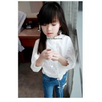 2015春装新款韩版童装中小童荷叶领女童纯棉长袖白衬衫打底衫