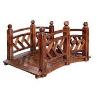 庭院小木桥 防腐木 炭化木 实木 拱桥装饰小桥景观桥 园林木桥 别墅院子跨桥