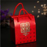 结婚喜糖包装盒 婚庆用品红色手提韩式创意喜糖糖 烫金高档喜糖盒