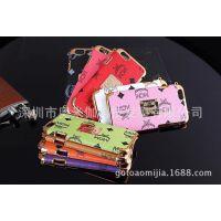 MCM iPhone6 plus真皮后壳皮套 苹果6 奢华手机壳套 超薄长挂绳