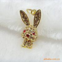 厂家直供 电镀金色兔子挂件 流行手机挂饰  合金吊坠